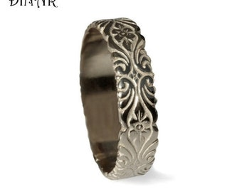 Silver women Wedding Band, Art Deco Hand Engraved Floral pattern, silver scroll band, women wedding ring, engraved flowers leafs womens band