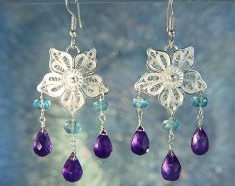 Filigree Amethyst & Apatite Bead 925 Silver Earrings SE231