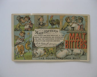 Malt Bitters Co - The House That Jack Built Victorian Trade Card - The Best Medicine for Overcoming Dyspepsia, Debility and Wasting Diseases