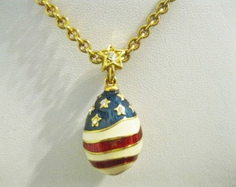 Joan Rivers Egg Necklace - Patriotic in Red White and Blue - S1652