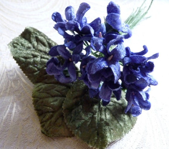 SALE Velvet Violets Millinery Bouquet Periwinkle Blue Old
