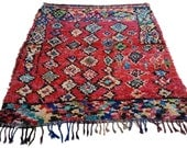 RESERVED Vintage Moroccan rug woven using different scraps of used textiles / boucherouite / boucherouette