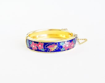 Butterfly and Flowers Cloisonne Hinged Bangle Bracelet