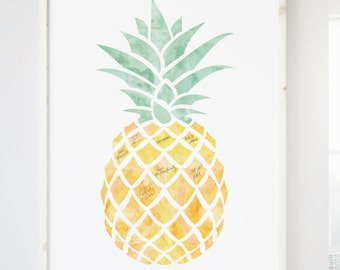 Tropical Wedding Guest Book Alternative with Pineapple for Guest Signatures, Tropical wedding guestbook sign, pineapple decor