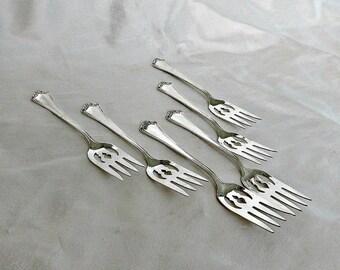 Antique Sterling Ramekin Fork Set, Baker Manchester Roanoke Pattern, Roanoke Sterling Forks