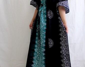 "PLUS SIZE Evening gown, Cotton dress, batik dress, Indian gown, boho dressing, ombre dress, swim coverup, night gown, lounge Teal Blk TD)55"""