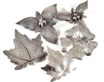 Canadian Sterling Brooch Set - Bob Ford - Andrew Fussell - Dogwood Trillium Flowers - Maple Leaf - Silver - Canada  - Early - 1960