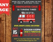 Fire Truck Invitation, Firetruck Invitation, Fireman Invitation, Firefighter Invitation, Fire Truck Birthday, Boy Birthday Invitation