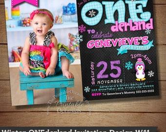 Girls Winter ONEderland Invitation, Winter Onederland Birthday Invitation, First Birthday, 1st Birthday, Snowflakes, Penguin Invitation