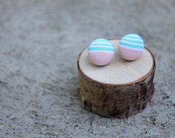 Mint and Peach Fabric Button Earrings // Retro Studs // Fabric Earrings // Striped Earrings // Covered Button Earrings