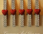 Decorative Hearts Clothespins, Clothespeg, Valentine Hearts Decor, Sparkle Refrigerator Magnets, Photo Holder, Dorm Decor, Decorative Clip