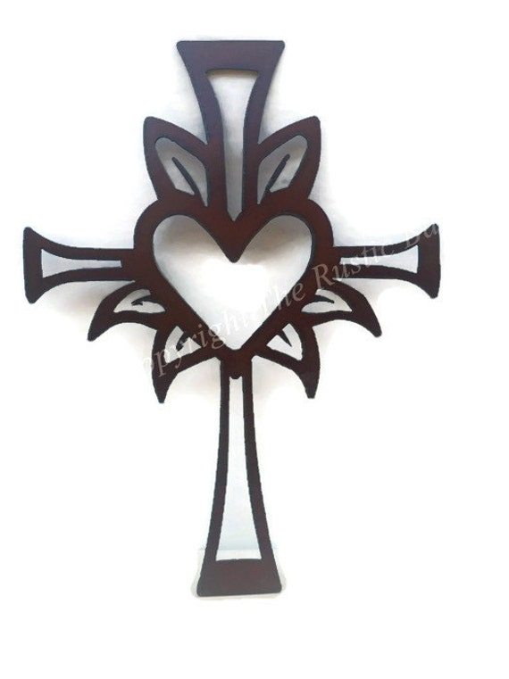 CROSS  with Center heart Sign made of Rustic Rusty Rusted Recycled Metal