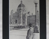 1920s Antique Canadian Print of the British Columbia Parliament Buildings, Old Canada Decor, Available Framed, Victoria Art, Vancouver Gift