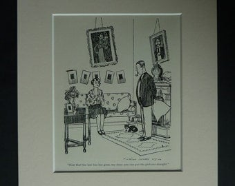 1930s Antique Humorous Print by Arthur Watts, Middle Class Suburban Decor, Available Framed, Suburbia Art Husband and Wife Gift Knitting Art
