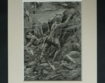 1920s Antique Military Print, World War One Decor, Available Framed, WW1 Art, East Surrey Regiment Gift for Soldier, Old WW1 Trench Artwork