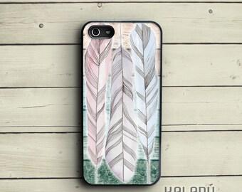 iPhone 5 case feathers on wood, pastel iPhone 5s case, ombre iPhone case 5, feathers iPhone 6 case, iPhone 4 case, Ieva Ekmane drawing