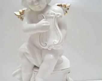 Vintage Cherub Angel Playing Harp Figurine Statue Shabby Chic Cottage