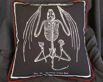 Bat Skeleton Throw Pillow