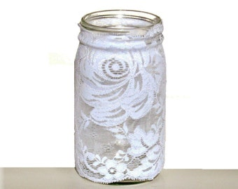 Lace Mason Jar Cover White Stretchy easy to apply and remove Home Decor Wedding Centerpiece Party