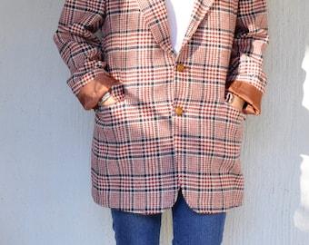 70s Mens Sport Coat | Mod Houndstooth Dinner Jacket. 1970s Oxford Blazer. Mens Plaid Winter Blazer. Checkered Retro Rockabilly Jacket