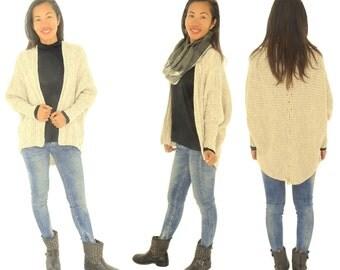 GW200 Damen Jacke Zopfmuster ohne Verschluss Grobstrick Gr. S-L beige