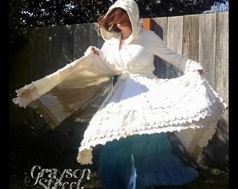 Fantasy Sweater Coat - One of a Kind - Full Circle Skirt - Upcycled Elf Coat