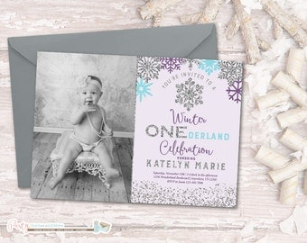 Winter Birthday Invitation, Winter ONEderland Birthday Invitation, Snowflake Birthday Invitation, Winter Onderland, Purple and Silver