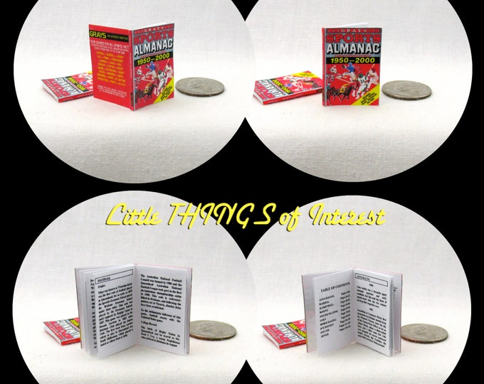 SPORTS ALMANAC 1:12 Scale Dollhouse Miniature Book Back to the Future Grays Sports Almanac Biff opened the safe tells the future Marty McFly