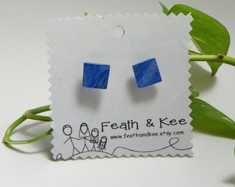 Shimmery Metallic Blue Upcycled Wooden Earrings Lightweight One of a Kind Square Hand Painted