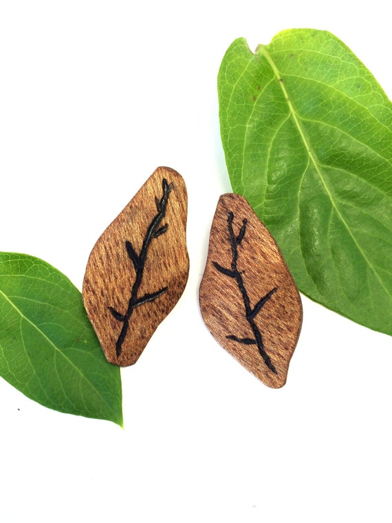 Church Wood Leaf Earrings from Feath & Kee
