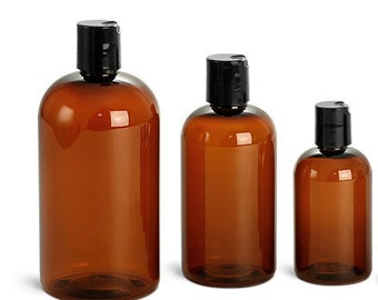 16 oz. (480 mL) Amber Plastic Bottles with Disc Caps or Lotion Pumps, Set of 2
