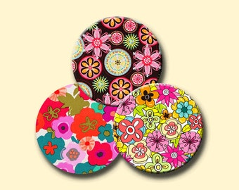 RETRO FUNKY FLOWERS Digital Collage Sheet 2.5 inch round images for Pocket Mirrors, Magnets, Paper Weights - Instant Download #207.