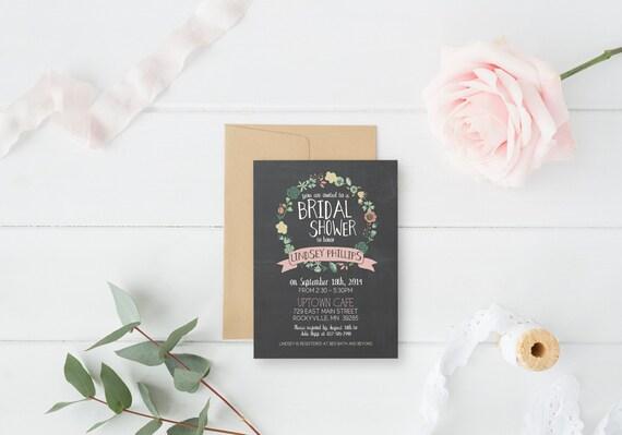 Modern, Chalkboard, Floral, Laurel, Wreath, Rustic, Black, Vintage, Bridal Shower, 2015, Chalk - Printable, Custom - DIY