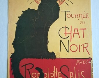 SALE CLEARANCE Vintage Le Chat Noir Theophile Alexandre Steinler Art Print Small French Poster Home Decor Cabaret Night Club Advertisement