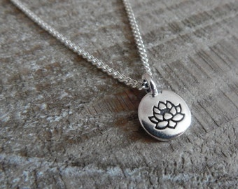 Lotus Flower Charm Necklace, Lotus Pendant, Silver Lotus Necklace, Spiritual Pendant
