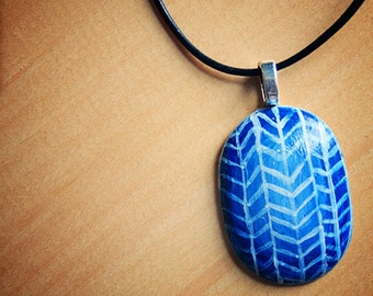 Handpainted Blue and White Resin //  pendant necklace