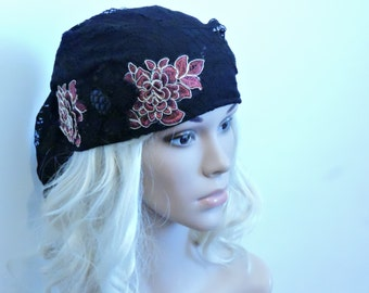 Black Lace Tichel With Red Flower , Chemo Hat , Head Scarf , Snood , Chemo Scarf , Hair Covering , Head Cover , Black Headwear , Sinar