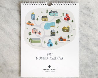 2017 Monthly Calendar, Wall Calendar, Illustrated cottages, village, church, schoolhouse, pond, barn, town
