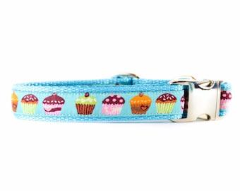 Turquoise Cupcake Dog Collar - Aqua Blue Girl Dog Collar - Plastic or Metal Buckle