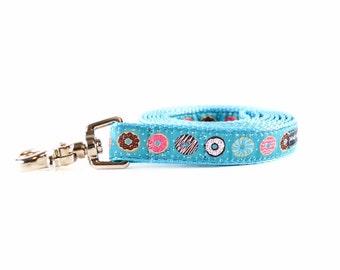 Donut Dog Leash - Foodie Doughnut Pink Sprinkles Turquoise Aqua Blue Dog Lead
