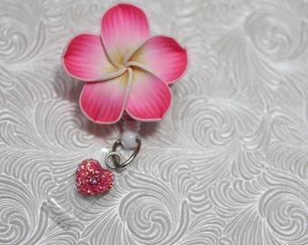 flower of paradise - badge holder - badge reel - retractable - name badge holder - professional badge clip - badge bling - nurse jewelry