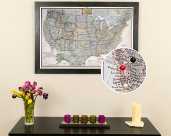 personalized executive us travel map with pins and frame push pin travel map detailed - World Map Framed
