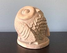 Vintage Austin Prod. INC. 1980 Plaster Grey Sleeping Owl Sculpture - Excellent Condition