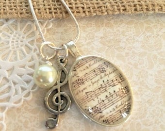 Sheet Music Necklace, Music Notes Necklace, Musical Jewelry, Musical Notes Jewelry, Treble Clef, Vintage Inspired Antique Sheet Music