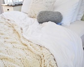 Chunky Cable Knit Blanket in Cream Irish Wool Throw, Twin, Full Queen, King Bed Size Made To Order 1809.101.MTO