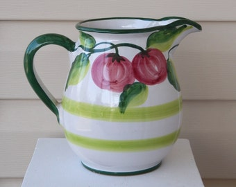 Vintage SOLIMENE VIETRI ITALY Pitcher, Ceramic Pitcher White with Green Trim Red Apples, Italian Vietri Pitcher Farmhouse Decor Cottage Chic