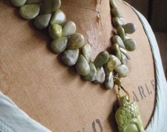 Green-Grass Buddha Necklace