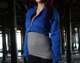 Full BLUE Pokemon GO Trainer Cosplay Costume Hoodie Cropped Jacket