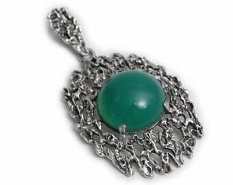 Antique Artisan Birthstones Agate Pendant 835 Silver Art Deco Jewelry precious Stones green Gemstone handmade old