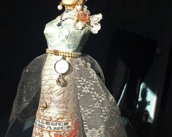 Art Doll Assemblage Paper Mache Mannequin Shabby Chic French Decor handmade OOAK Doll Upcycled Recycled French Decor Masquerade Ball Costume
